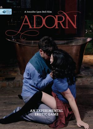 Poster for the film Adorn, an experimental erotic game directed by Jennifer Lyon Bell for Blue Artichoke Films and starring Sadie Lune and Parker Marx