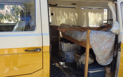 Gala Vanting masturbating in a yellow camper van in an erotic film by Louise Lush for Bright Desire