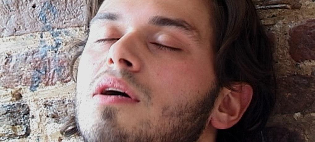 Chris Brinkhof closing his eyes in ecstasy in Headshot, an erotic film directed by Jennifer Lyon Bell for Blue Artichoke Films