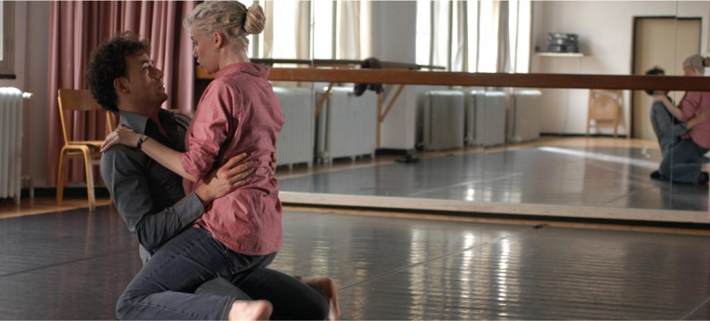 Alicia Whitsover and Steven McAlistair rehearsing their theater scene in Matinee, an erotic film directed by Jennifer Lyon Bell for Blue Artichoke Films
