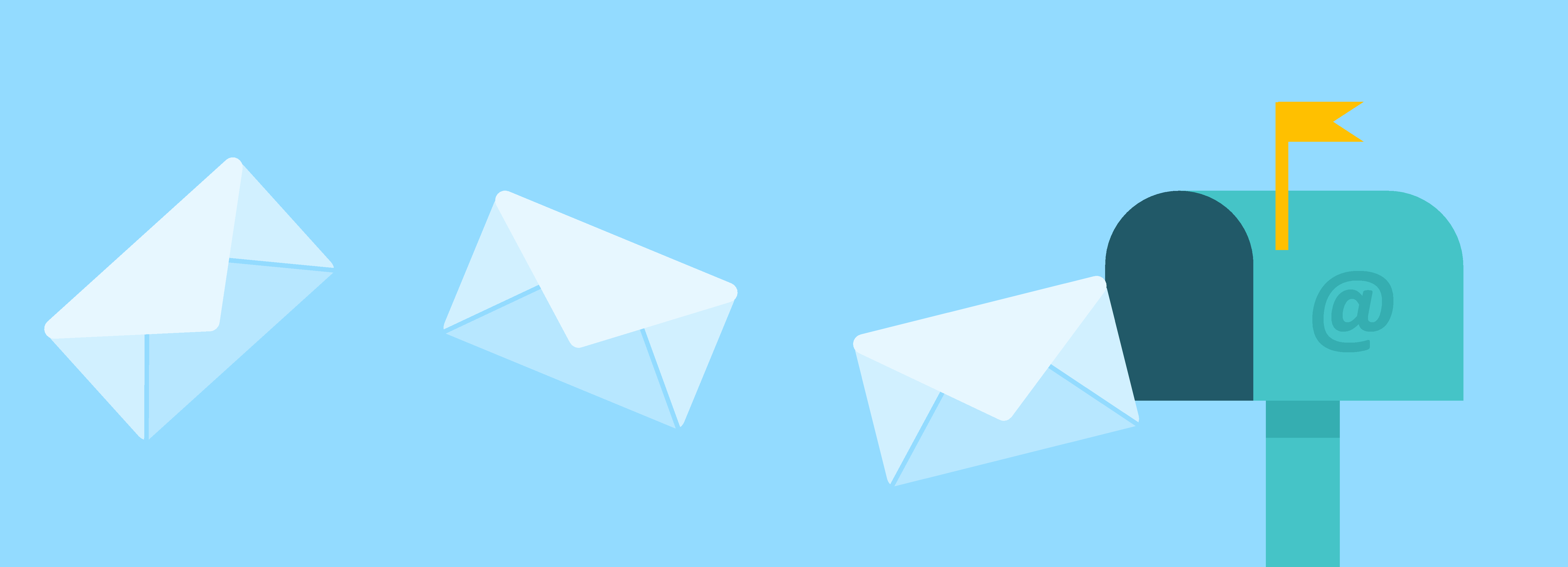Mail envelopes flying into a mailbox